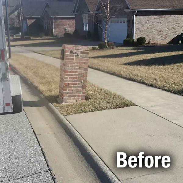 Johnson City Brick Mailbox Leveling - Before