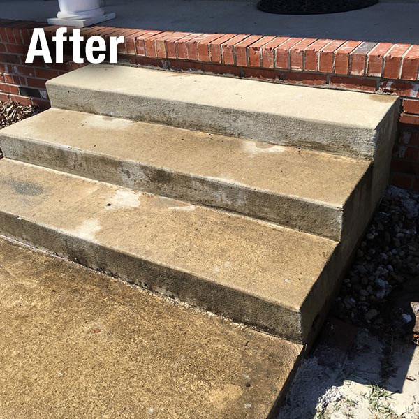 Johnson City Concrete Steps Leveling - After