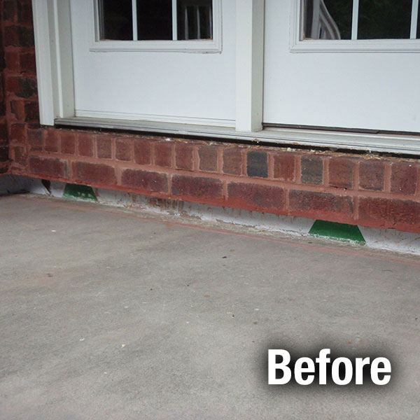 Johnson City Concrete Porch Leveling - Before