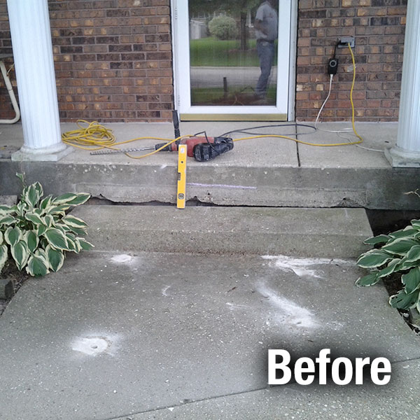 Johnson City Concrete Step Repair - Before