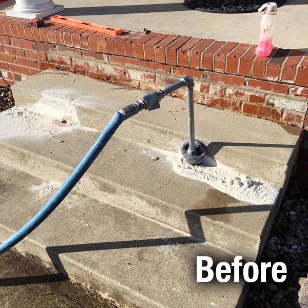 Johnson City​ Concrete Steps Leveling - Before